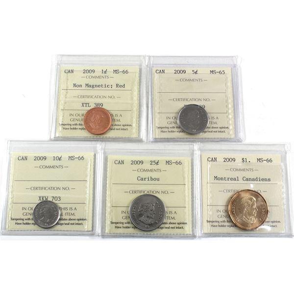 1-cent, 5-cent, 10-cent, 25-cent & Montreal Canadians Dollar 2009 ICCS Certified MS-66. 5pcs