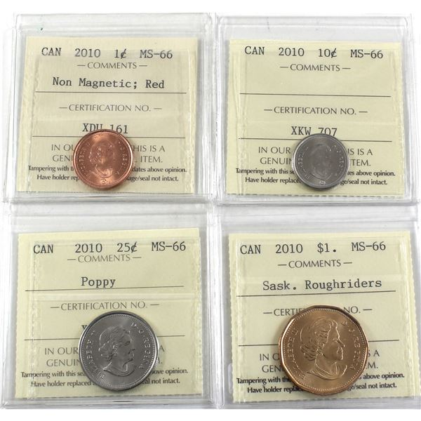 1-cent Non-Magnetic, 10-cent, 25-cent Poppy & Saskatchewan Roughriders Dollar 2010 ICCS Certified MS
