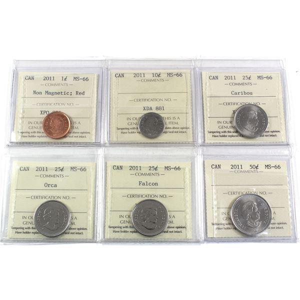 1-cent Non-Magnetic, 10-cent, 25-cent Caribou, Orca, Falcon, 50-cent 2011 ICCS Certified MS-66. 6pcs
