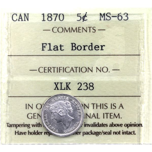 5-cent 1870 Flat Border ICCS Certified MS-63.