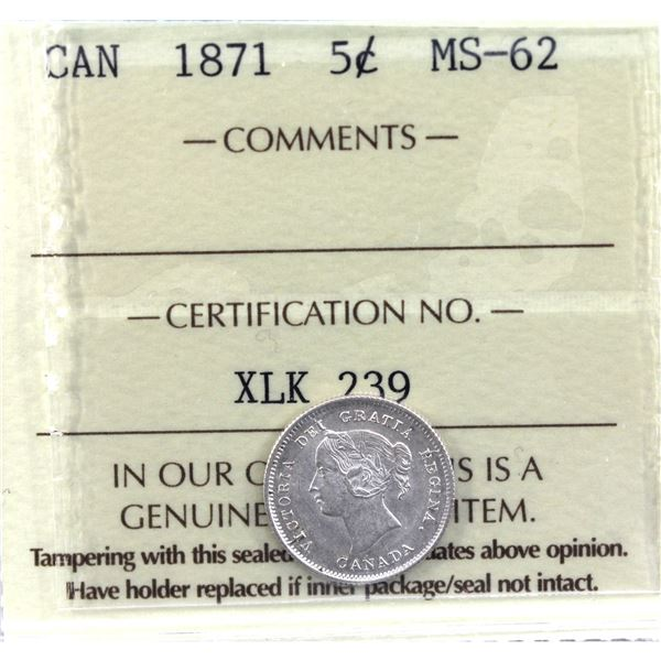5-cent 1871 ICCS Certified MS-62.