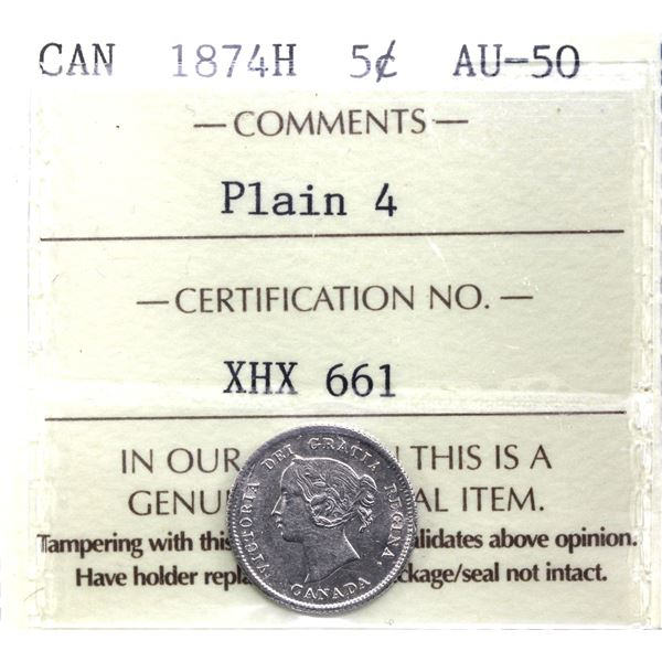 5-cent 1874 Plain 4 ICCS Certified AU-50. A bright coin with some interesting die breaks and clashes