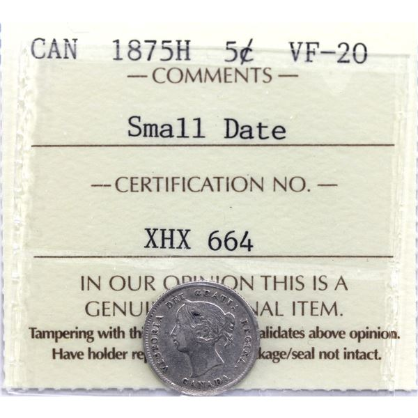 5-cent 1875H Small Date ICCS Certified VF-20. *KEY DATE*