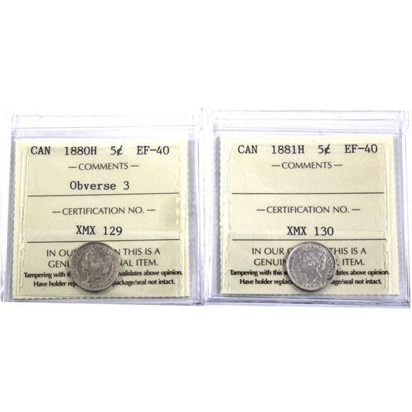 5-cent 1880H Obverse 3 & 1881H ICCS Certified EF-40. 2pcs