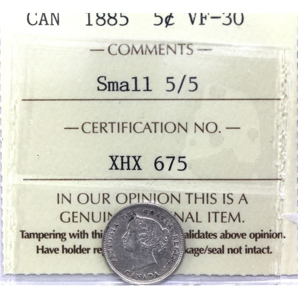5-cent 1885 Small 5/5 ICCS Certified VF-30.
