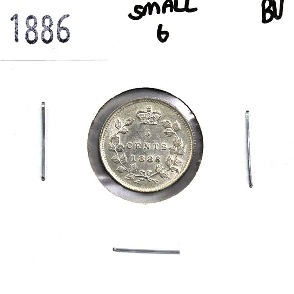 5-cent 1886 Small 6 in Brilliant Uncirculated condition. Soft satin white finishes throughout.