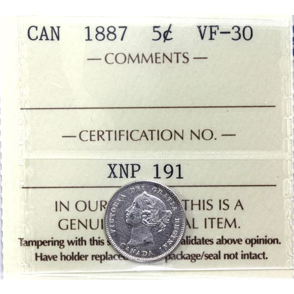 5-cent 1887 ICCS Certified VF-30.