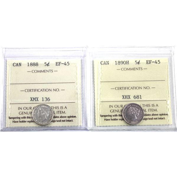 5-cent 1888 & 1890H ICCS Certified EF-45. 2pcs