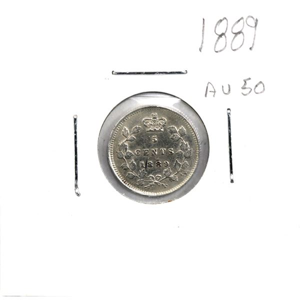 5-cent 1889 EF-AU Condition (2 small marks on obverse). *Lower mintage Date*