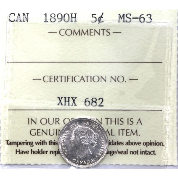 5-cent 1890H ICCS Certified MS-63. Bright flashy coin.