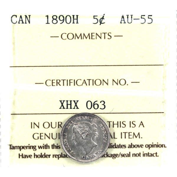 5-cent 1890H ICCS Certified AU-55.