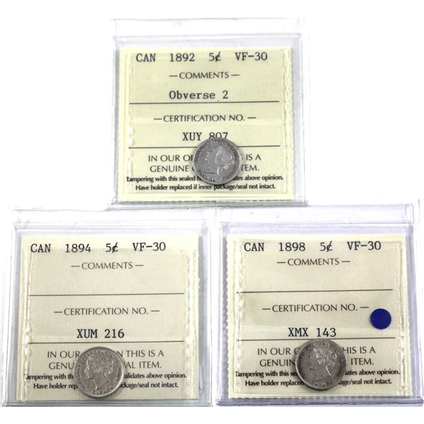 5-cent 1892 Obverse 2, 1894 & 1898 ICCS Certified VF-30. 3pcs