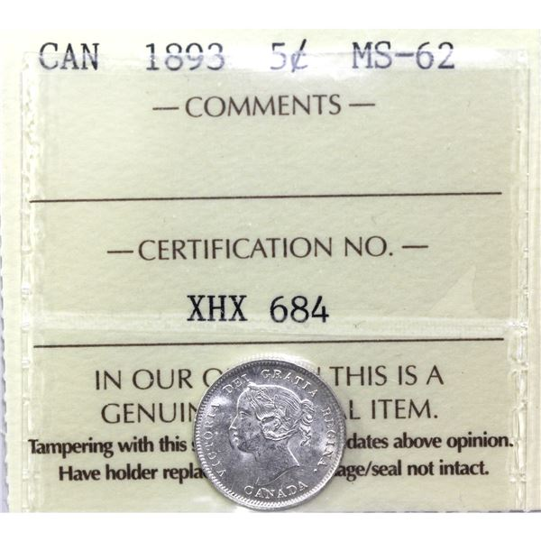 5-cent 1893 ICCS Certified MS-62.