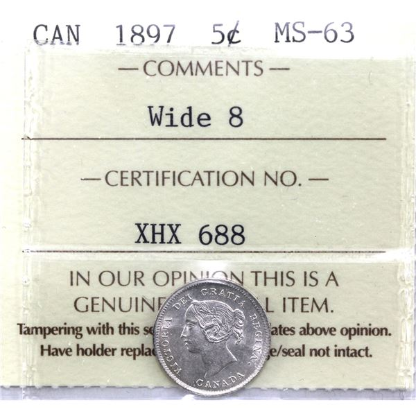 5-cent 1897 Wide 8 ICCS Certified MS-63. Bold details with no distracting features.