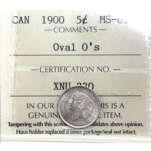 5-cent 1900 Oval 0's  ICCS Certified MS-63.  Choice eye appeal!