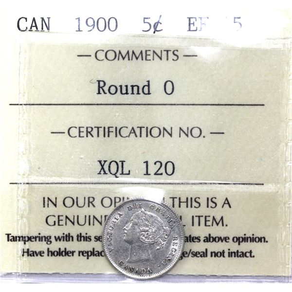 5-cent 1900 Round 0's ICCS Certified EF-45.
