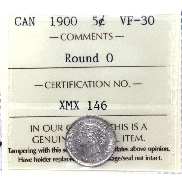 5-cent 1900 Round 0's ICCS Certified VF-30