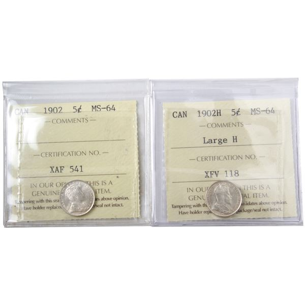 5-cent 1902 & 1902H Large H ICCS Certified MS-64. Both bright and flashy! 2pcs