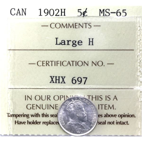 5-cent 1902H Large H ICCS Certified MS-65. A Bright bold coin for the first year Edward VII issue.