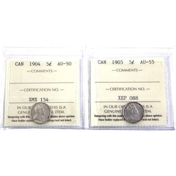 5-cent 1904 ICCS Certified AU-50 & 1905 ICCS AU-55. 2pcs