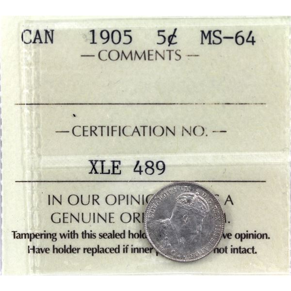 5-cent 1905 ICCS Certified MS-64. Light rose tones with underlying luster.