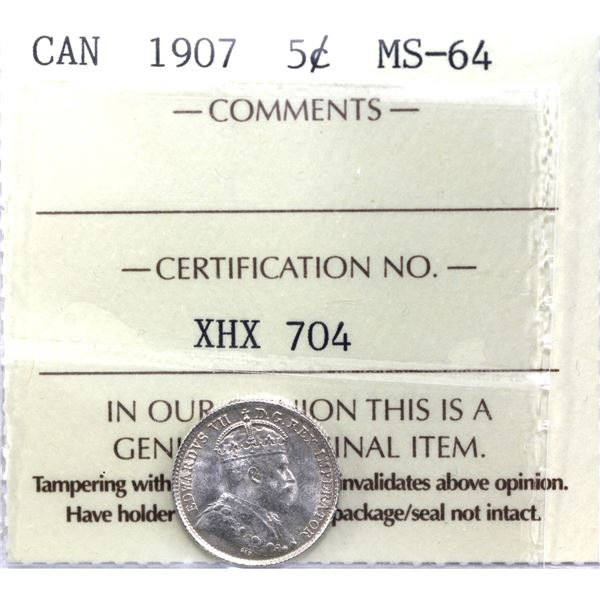 5-cent 1907 ICCS Certified MS-64. Light violet tones in margins with full white centers.