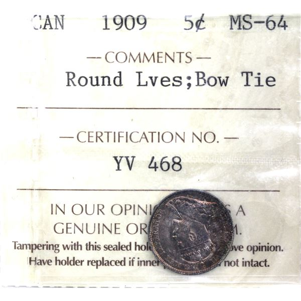 5-cent 1909 Round Leaves Bow Tie ICCS Certified MS-64. Attractive light rose toning throughout.
