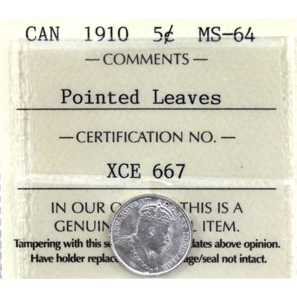 5-cent 1910 Pointed Leaves ICCS Certified MS-64.
