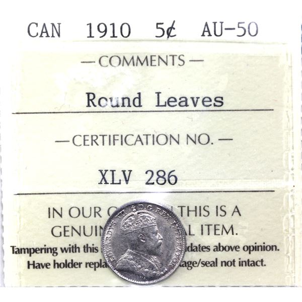 5-cent 1910 Round Leaves ICCS Certified AU-50.
