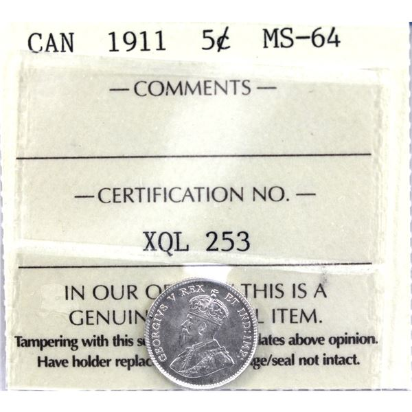 5-cent 1911 ICCS Certified MS-64. A blast white coin with exceptional eye appeal.