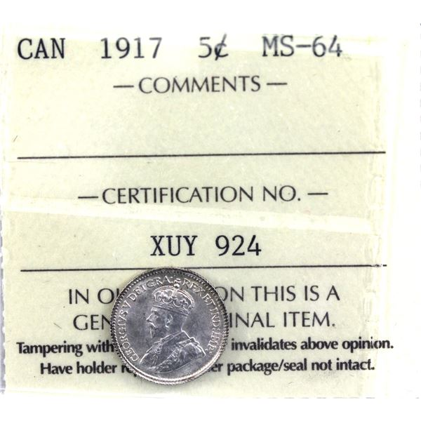 5-cent 1917 ICCS Certified MS-64.