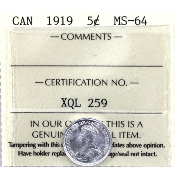 5-cent 1919 ICCS Certified MS-64.