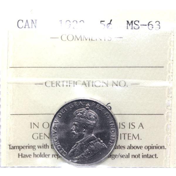 5-cent 1922 Far Rim ICCS Certified MS-63.