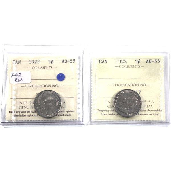 5-cent 1922 Far Rim & 1923 ICCS Certified AU-55. 2pcs