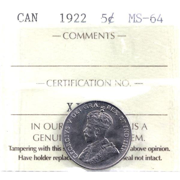 5-cent 1922 Near Rim ICCS Certified MS-64.