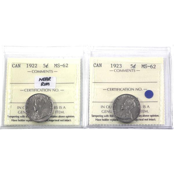 5-cent 1922 Near Rim & 1923 ICCS Certified MS-62. 2pcs