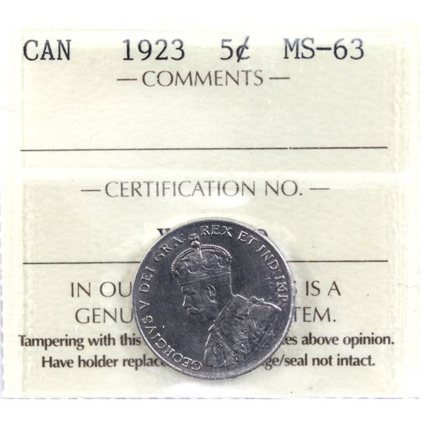 5-cent 1923 ICCS Certified MS-63.