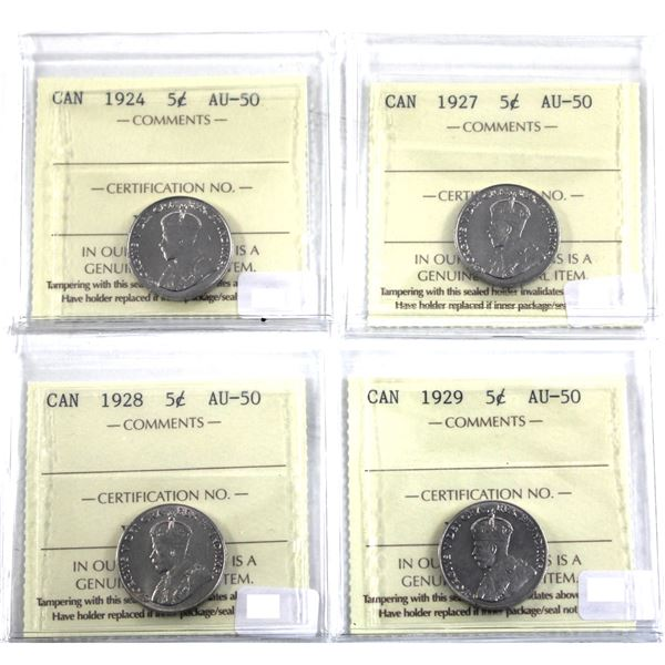 5-cent Lot 4x George 5th All ICCS Certified AU-50. Lot includes: 1924, 1927, 1928 & 1929. 4pcs