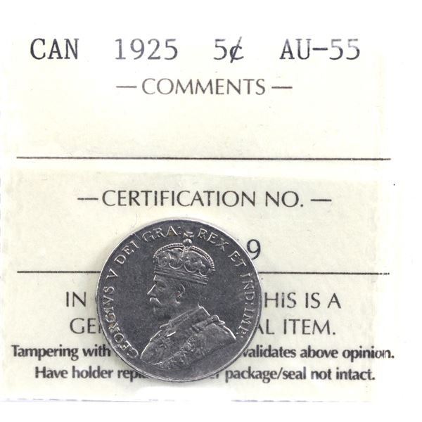 5-cent 1925 ICCS Certified AU-55. Soft satin finish over near mint state fields.
