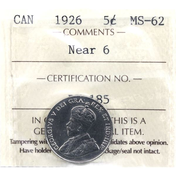 5-cent 1926 Near 6 ICCS Certified MS-62. A tough coin in mint state grades.