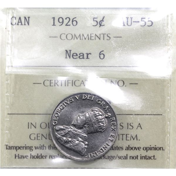 5-cent 1926 Near 6  ICCS Certified AU-55.