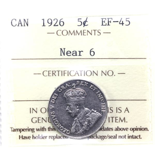 5-cent 1926 Near 6 ICCS Certified EF-45.