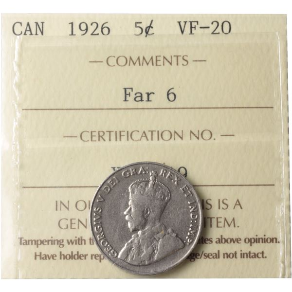 5-cent 1926 Far 6 ICCS Certified VF-20. *Scarce Variety*