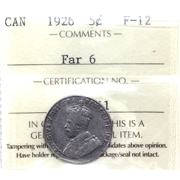 5-cent 1926 Far 6 ICCS Certified F-12.