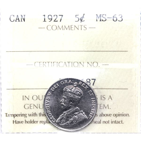 5-cent 1927 ICCS Certified MS-63.