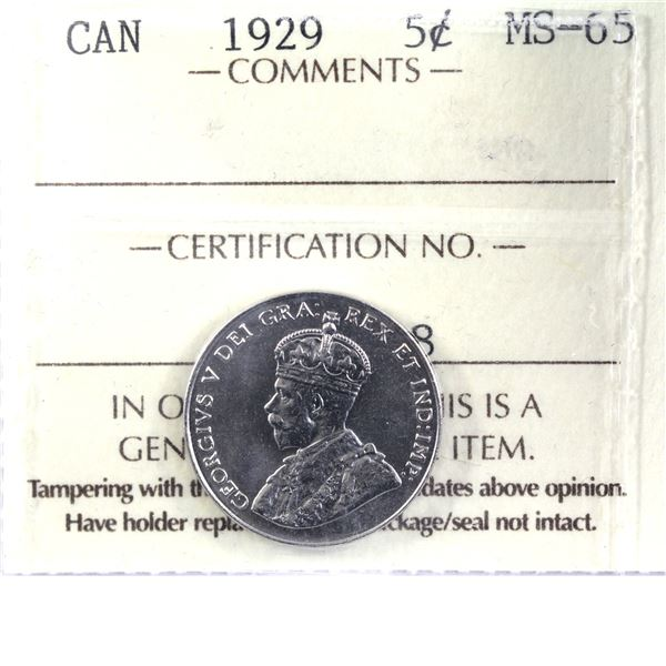 5-cent 1929 ICCS Certified MS-65. LOW POP! A true gem with exceptional eye appeal. Worth a premium b