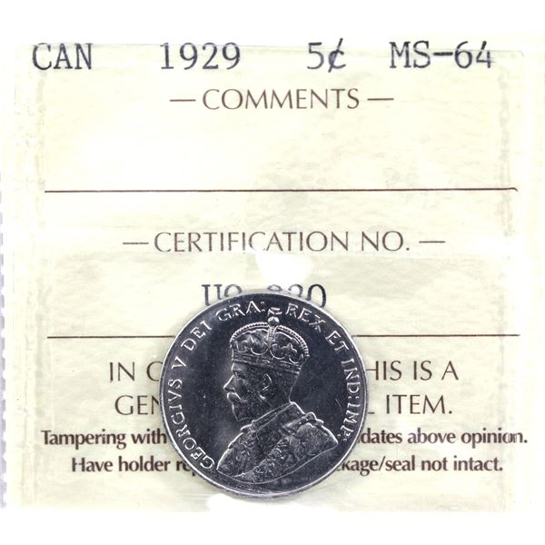 5-cent 1929  ICCS Certified MS-64.