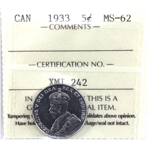5-cent 1933 ICCS Certified MS-62.
