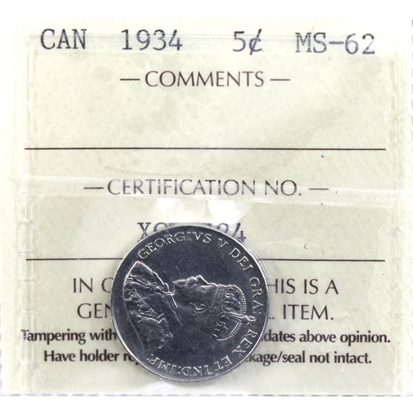 5-cent 1934 ICCS Certified MS-62.
