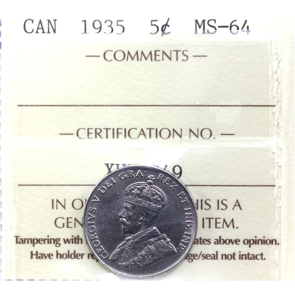 5-cent 1935 ICCS Certified MS-64. Rare in mint state grades.